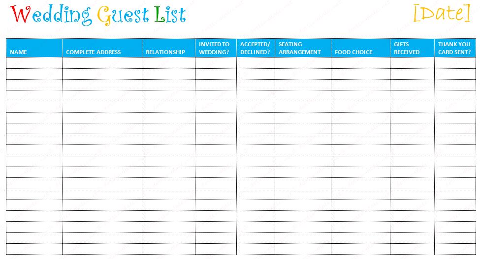 free editable wedding guest list templates  u2013 document