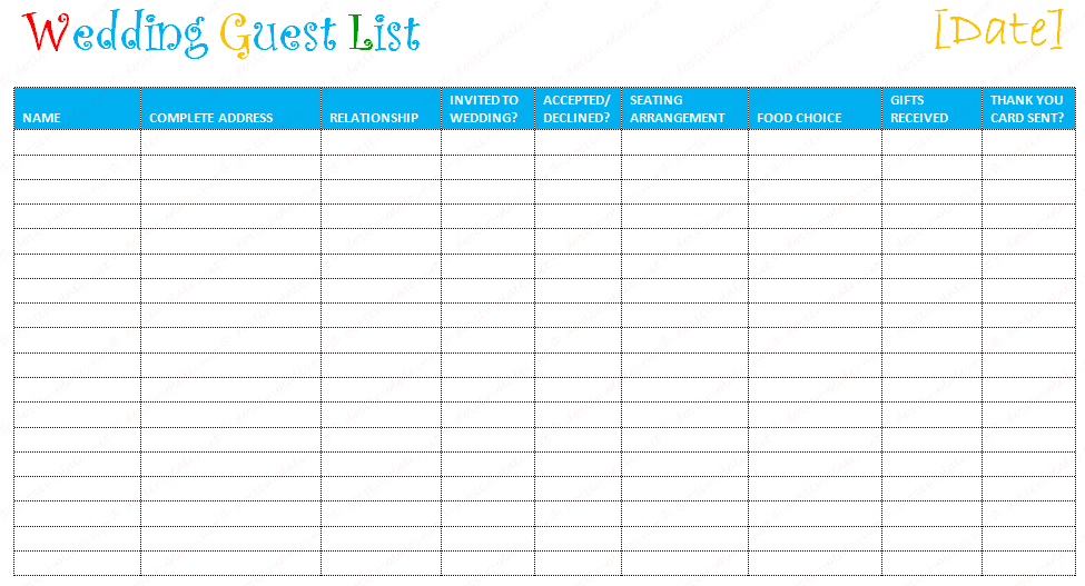 Amazing Wedding Guest List Template  Printable Guest List Template