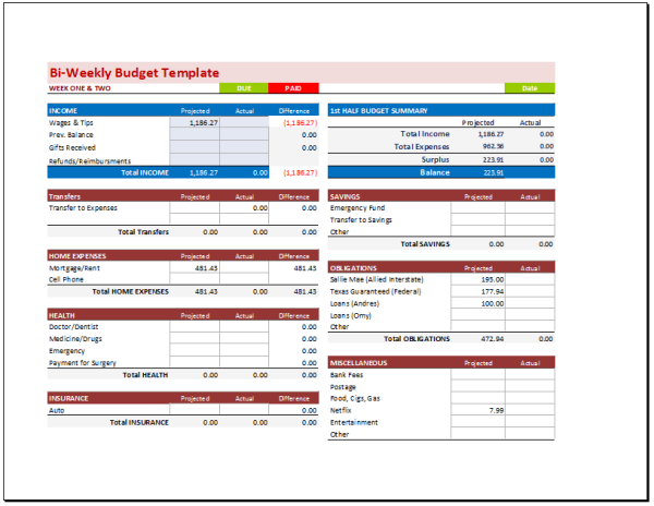 Document Templates Find useful resources – Bi Weekly Budget Worksheet